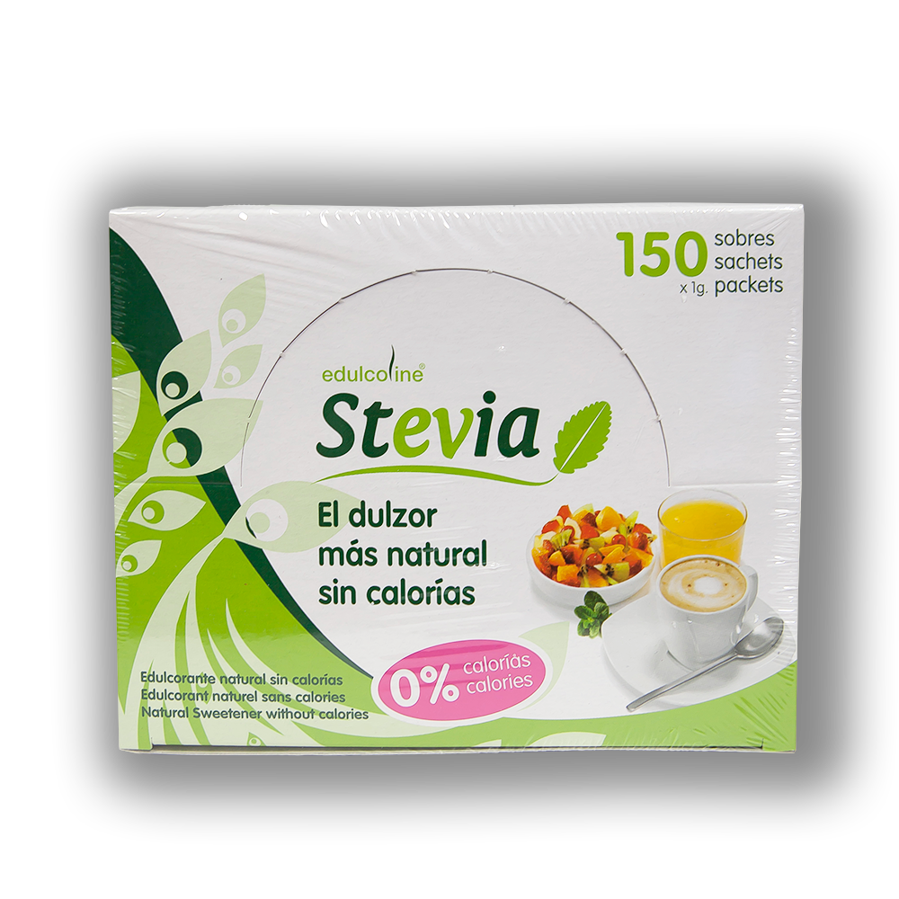 Stevia sweetener in 1gr servings. Box contains 150 units.