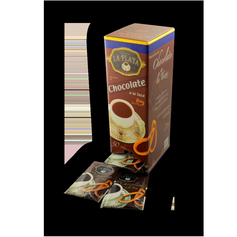 Chocolate a la taza La Plata sobres 30gr, caja de 50 unidades